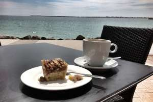 Cafe Latte on the beach at wallaroo
